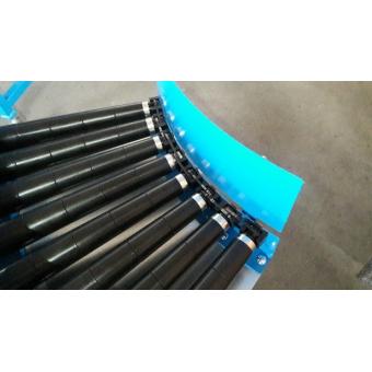 Courbes motorisées à rouleaux et entraînement par courroies striées de rouleau à rouleau